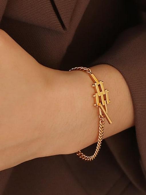 ACCA Brass Geometric Hip Hop Link Bracelet 1