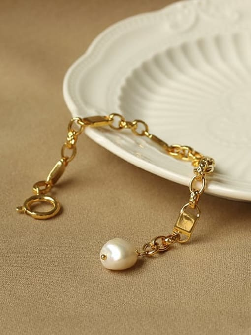 ACCA Brass Freshwater Pearl Geometric Chain Vintage Bracelet 2
