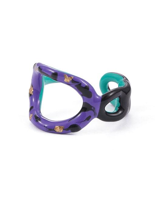Five Color Zinc Alloy Enamel Geometric Minimalist Band Ring 0