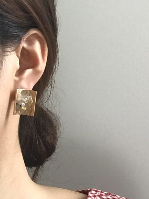 Five Color Alloy Resin Geometric Ethnic Stud Earring 1