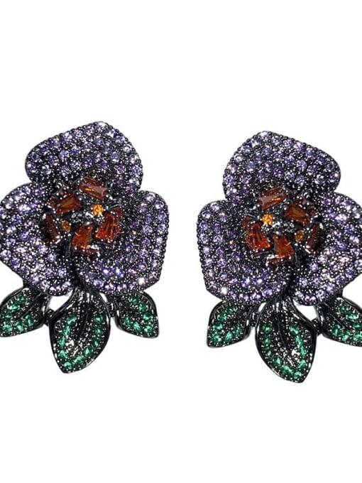 purple Brass Cubic Zirconia Flower Vintage Stud Earring