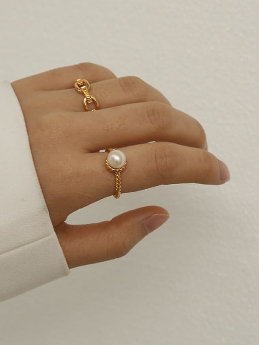 Five Color Brass Imitation Pearl Geometric Vintage Band Ring 1