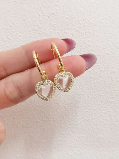 14k Gold Brass Glass Stone Heart Minimalist Huggie Earring