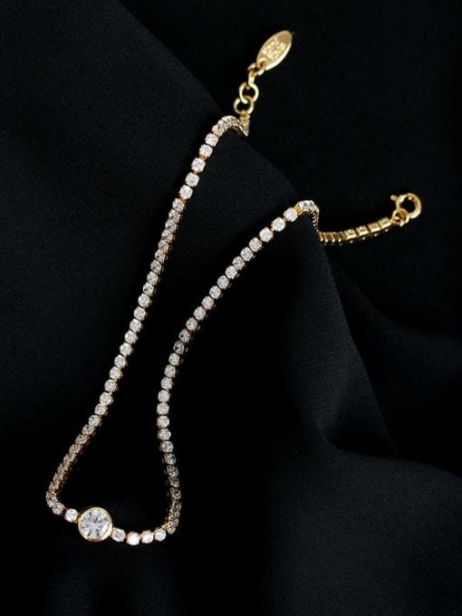 Five Color Brass Imitation Pearl Geometric Hip Hop Necklace