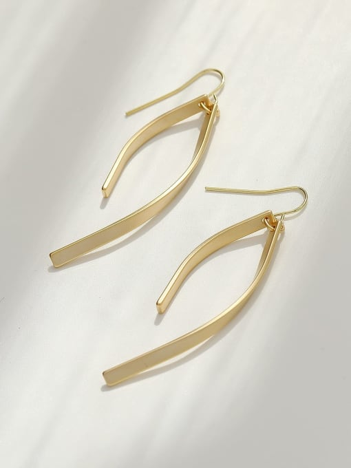 HYACINTH Brass Smooth Irregular Minimalist Hook Earring 0