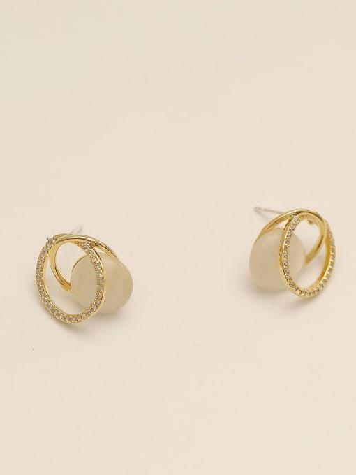 HYACINTH Brass Cats Eye Geometric Minimalist Stud Earring 0