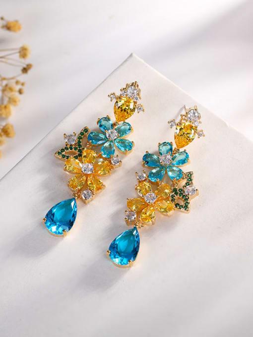 OUOU Brass Cubic Zirconia Flower Luxury Drop Earring 2