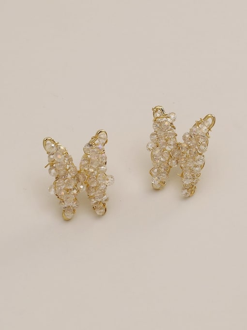 HYACINTH Brass Crystal Butterfly Ethnic Stud Earring 1