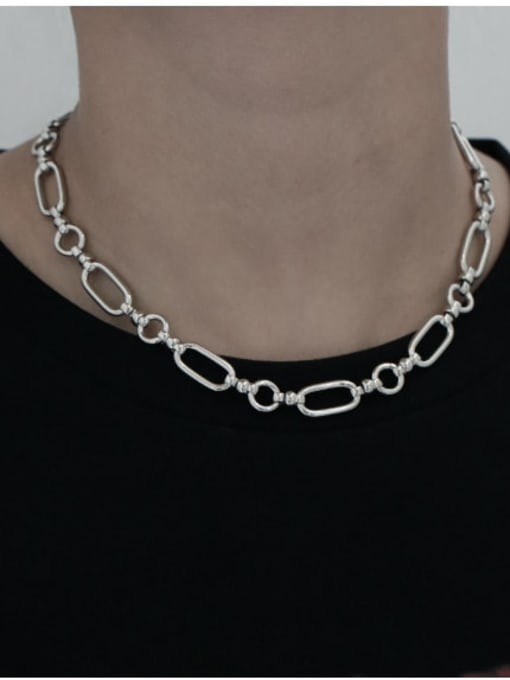 TINGS Brass Hollow Geometric Chain Vintage Necklace 2