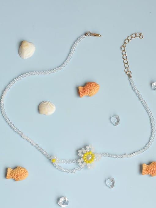 Five Color Alloy Bead Geometric Cute Necklace 1