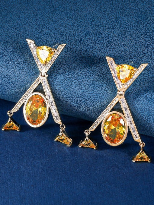 OUOU Brass Cubic Zirconia Geometric Minimalist Drop Earring 3