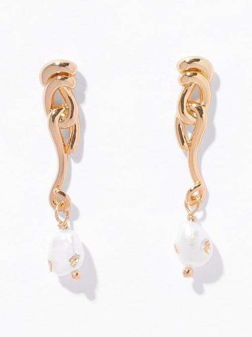 Pearl Earrings Brass Imitation Pearl Tassel Hip Hop Drop Earring