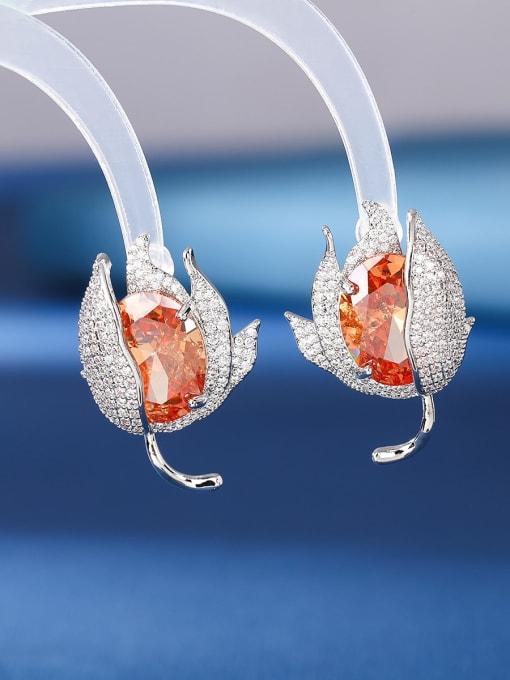 OUOU Brass Cubic Zirconia Flower Luxury Stud Earring 1