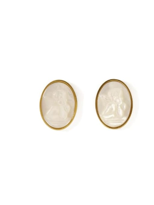 Oval Brass Shell Round Vintage Stud Earring