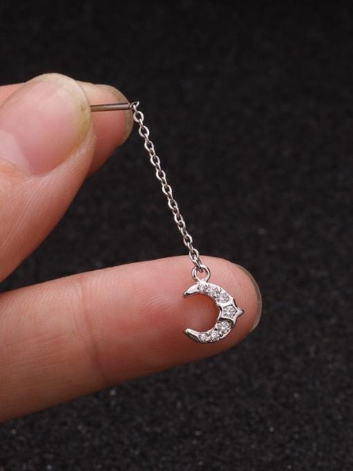 6 Brass Cubic Zirconia Tassel Minimalist Single Earring