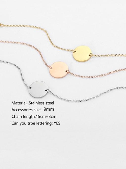 Desoto Titanium Steel Round Minimalist Trpe Lettering Link Bracelet 1