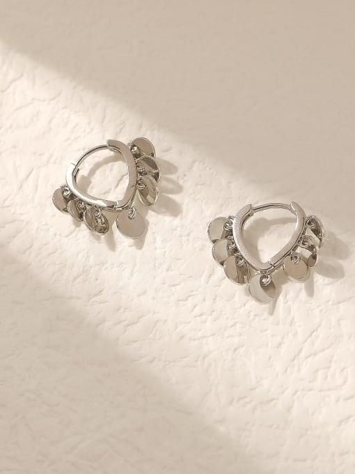 White K Brass Hollow Heart Vintage Huggie Trend Korean Fashion Earring