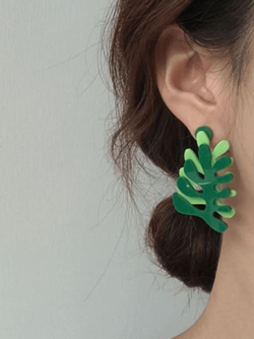 Five Color Alloy Enamel Tree Cute Stud Earring 2