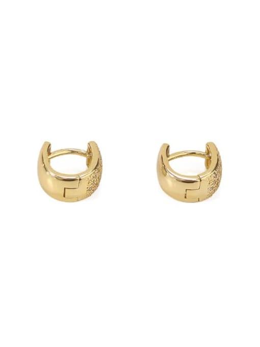 A micro inlaid zirco n single Brass Cubic Zirconia Geometric Vintage Huggie Earring
