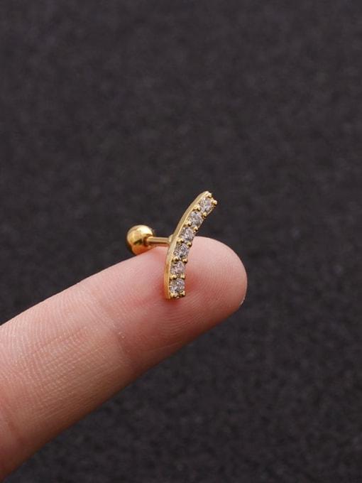 Gold 5#(Single) Brass Cubic Zirconia Geometric Minimalist Stud Earring