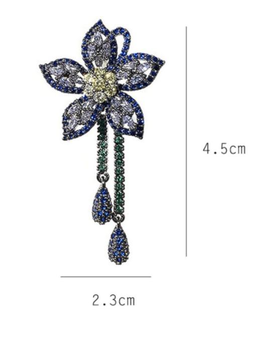 SUUTO Brass Cubic Zirconia Flower Vintage Cluster Earring 3