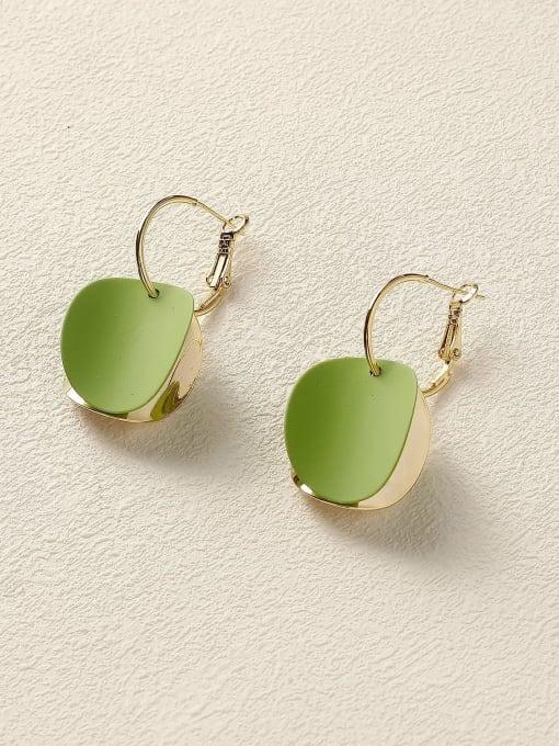 Green Brass Enamel Geometric Vintage Huggie Earring