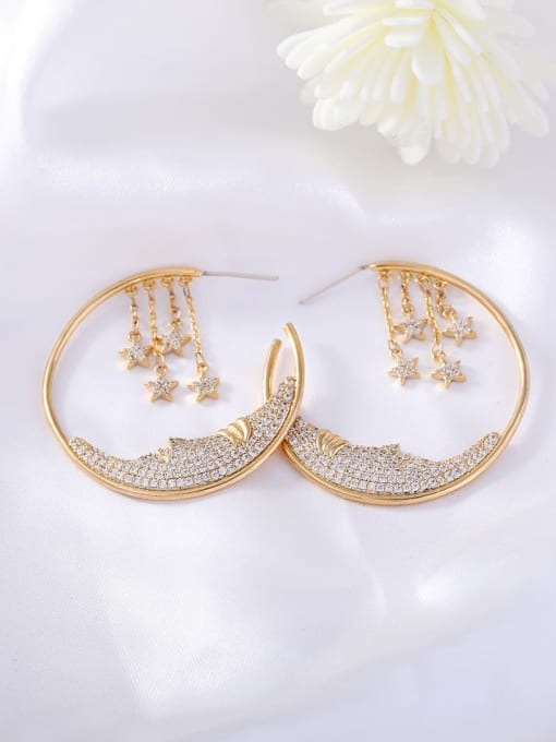 OUOU Brass Cubic Zirconia Geometric Ethnic Huggie Earring 2