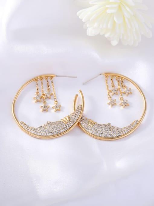 golden Brass Cubic Zirconia Geometric Ethnic Huggie Earring