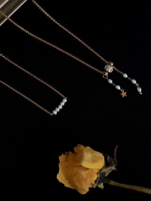 Five Color Brass Imitation Pearl Tassel Vintage Necklace 0