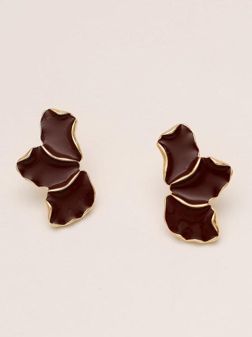 14K gin red Brass Enamel Geometric Minimalist Stud Earring