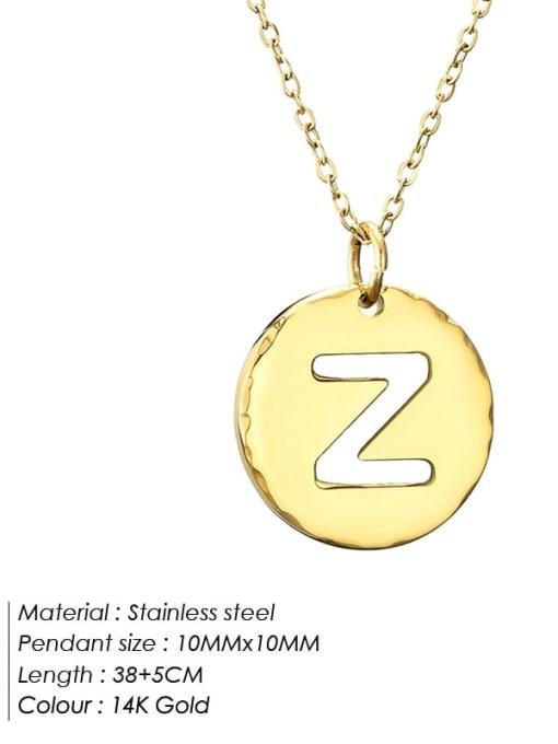 Z Titanium Steel Letter Minimalist Round Pendant Necklace