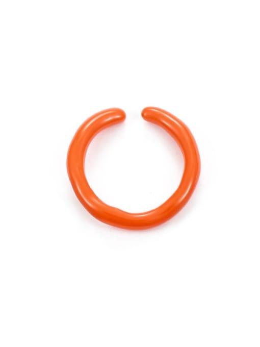 Orange oil drop (slightly adjustable) Zinc Alloy Enamel Geometric Minimalist Band Ring