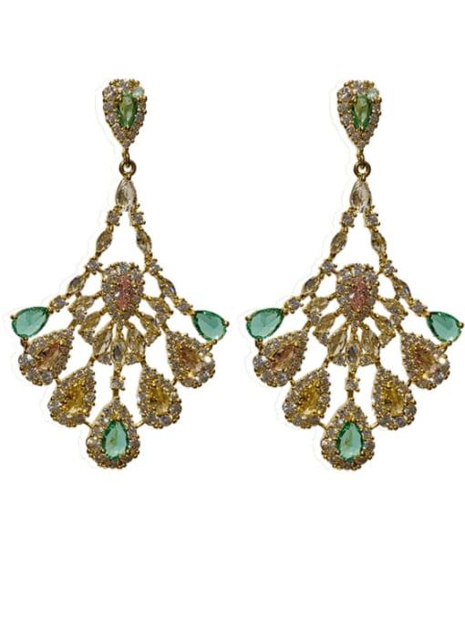 SUUTO Brass Cubic Zirconia Geometric Vintage Drop Earring 1