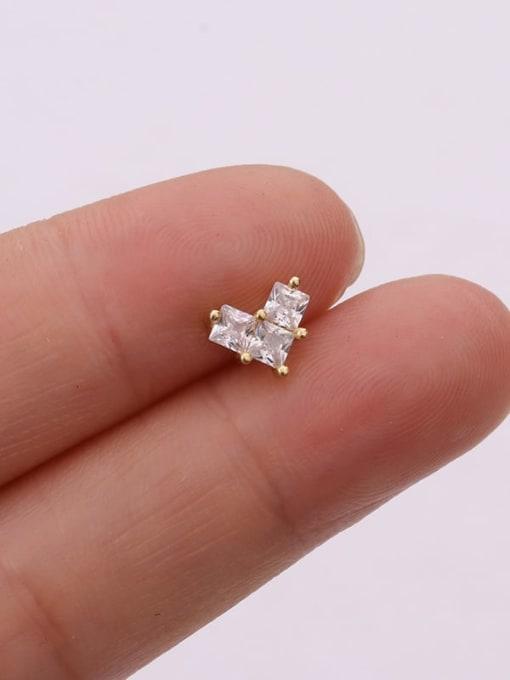 Gold 7#(single) Brass Cubic Zirconia Flower Cute Stud Earring (single)