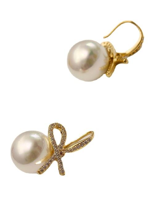 HYACINTH Brass Imitation Pearl Geometric Minimalist Hook Earring 4