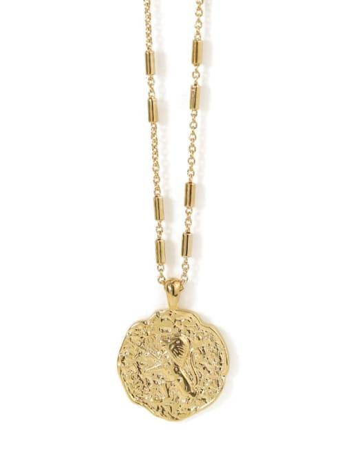 circular Brass Lion Vintage round pendant Necklace