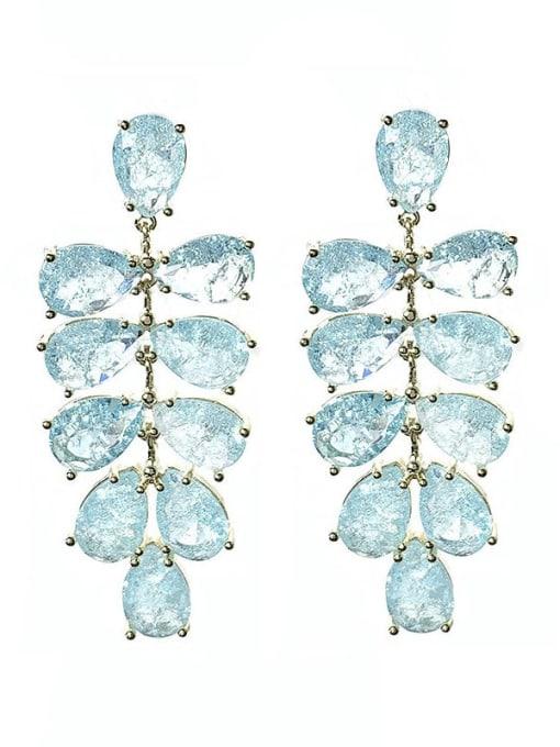 blue Brass Cubic Zirconia Water Drop Leaf Luxury Drop Earring