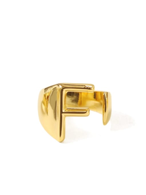 F Brass  26 Letter Vintage Band Ring