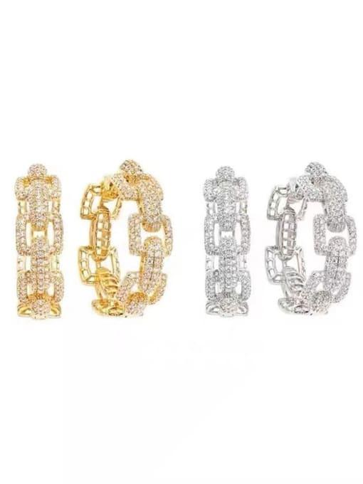 OUOU Brass Cubic Zirconia Geometric Statement Huggie Earring