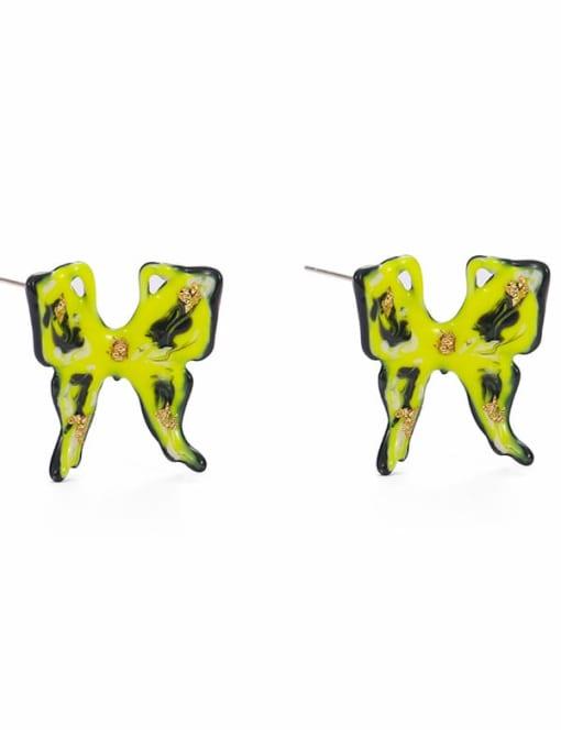Butterfly Earrings Brass Multi Color Enamel Butterfly Minimalist Stud Earring
