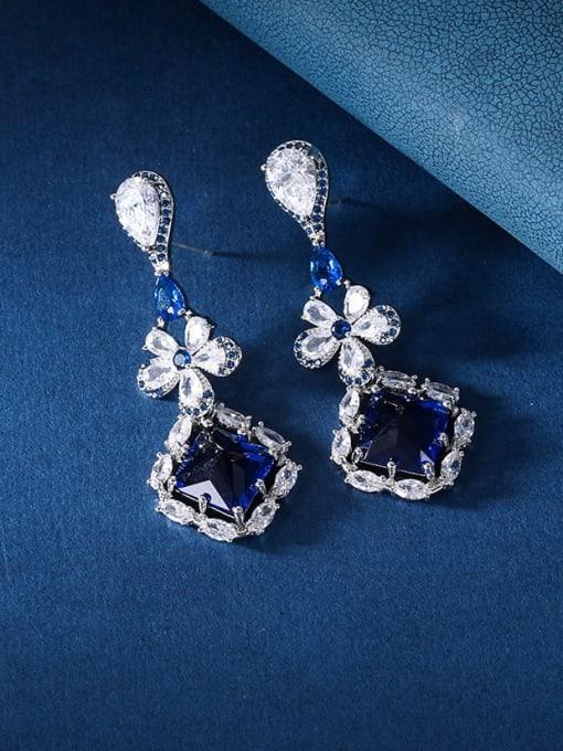 OUOU Brass Cubic Zirconia Geometric Luxury Drop Earring 2