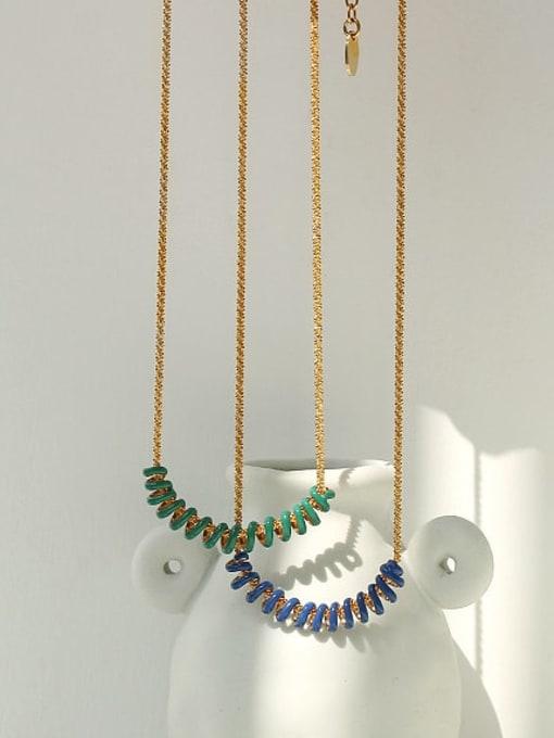 ACCA Brass Enamel Geometric Vintage Necklace 2