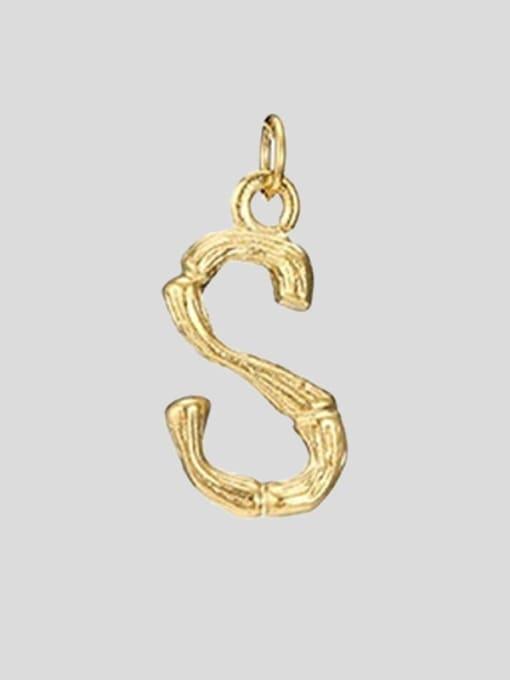 S 14K Gold Titanium Steel Letter Minimalist Necklace