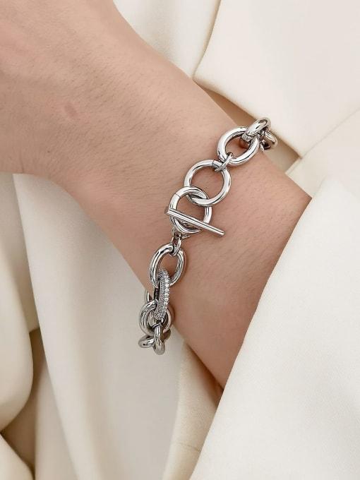 HYACINTH Brass Geometric Chain Minimalist Link Bracelet 1