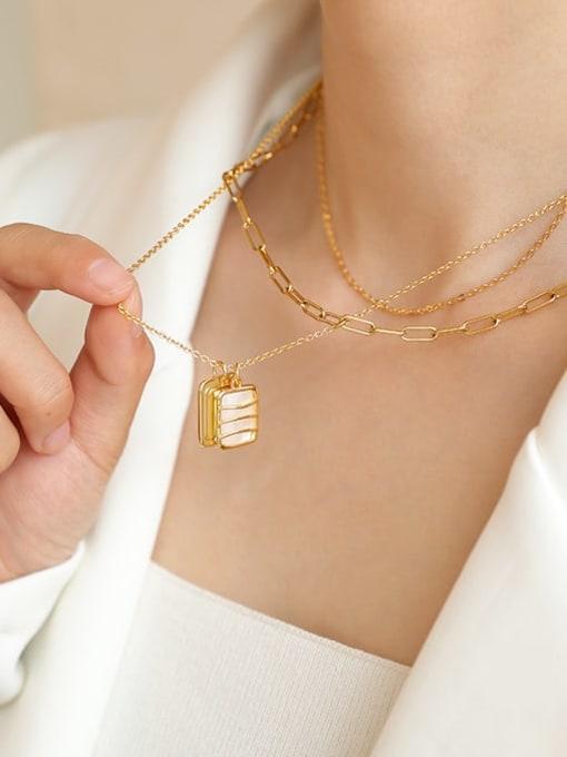 Five Color Brass Shell Geometric Vintage Multi Strand Necklace 2