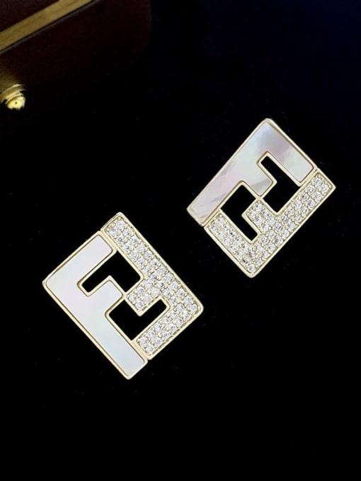 SUUTO Brass Cubic Zirconia Geometric Minimalist Stud Earring 2
