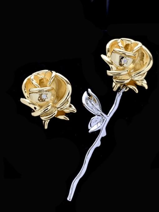 SUUTO Alloy Asymmetry Flower Vintage Stud Earring