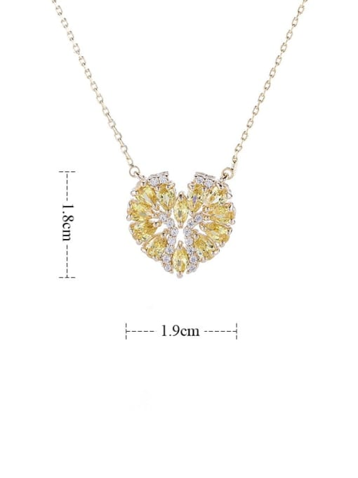 YILLIN Brass Cubic Zirconia Heart Statement Necklace 2