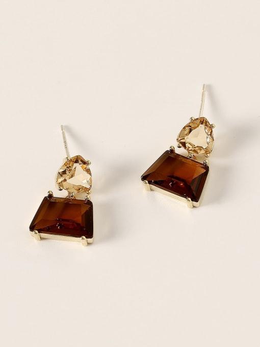 HYACINTH Brass Glass Stone Geometric Vintage Drop Earring