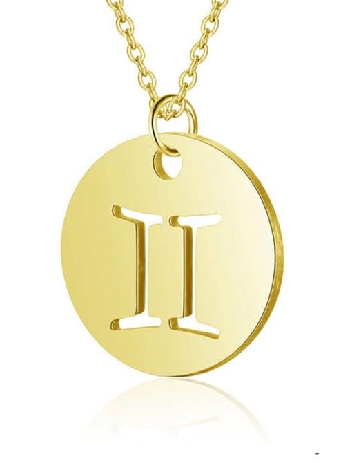 Gemini gold Titanium Steel Constellation Minimalist  Round Pendant Necklace
